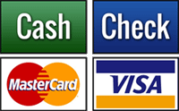 Credit cards, cash, and checks accepted